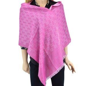 GUCCI Huge Wrap Shawl Scarf Pink Guccissima Print